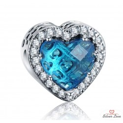 Sparkling Heart Charm - turquoise