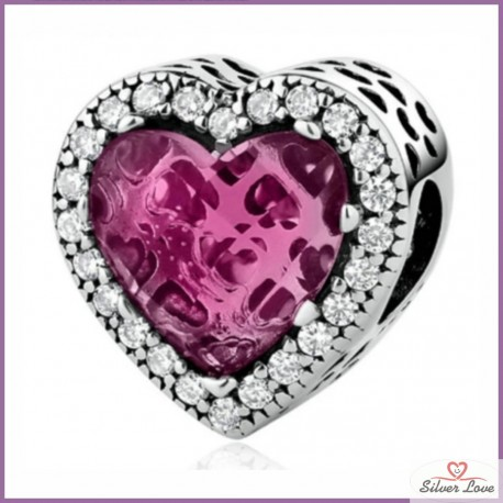 Sparkling Heart Charm - ruby color
